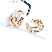 Load image into Gallery viewer, Triple Gold Hoop Earrings