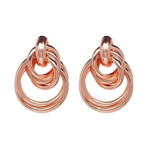 Trinity Rose Gold Hoop Earrings - Nicholls Jewellery