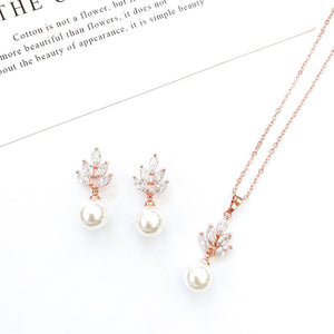Serenity Rose Gold Flower & Pearl set