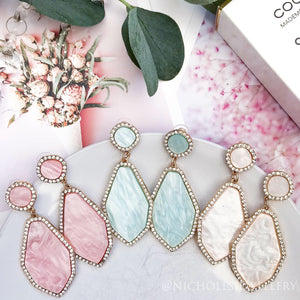 Clo Pink Stone Earrings - Nicholls Jewellery