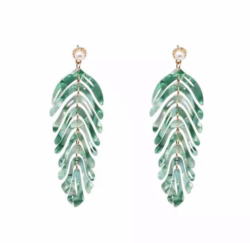 Feather Leaf Green Earrings - Nicholls Jewellery