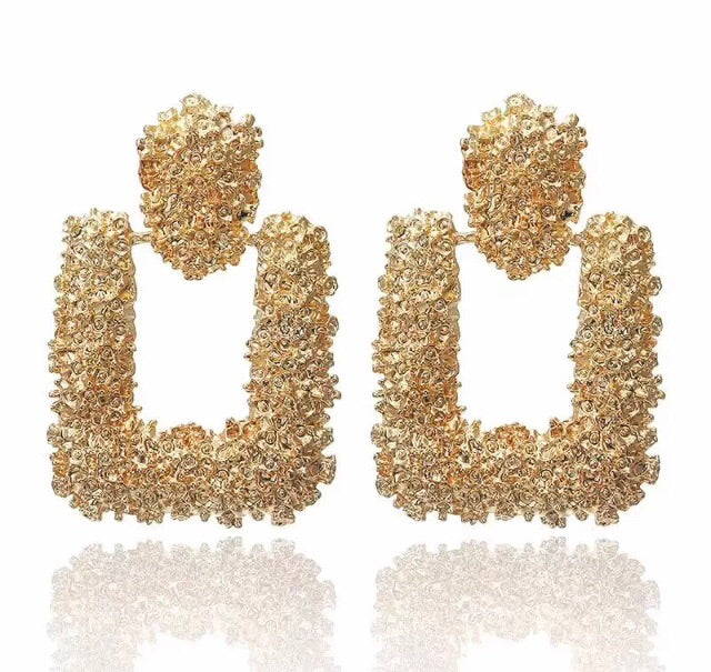 Luxe Square Gold Earrings - Nicholls Jewellery