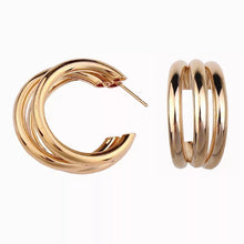 Load image into Gallery viewer, Triple Gold Hoop Earrings - Nicholls Jewellery