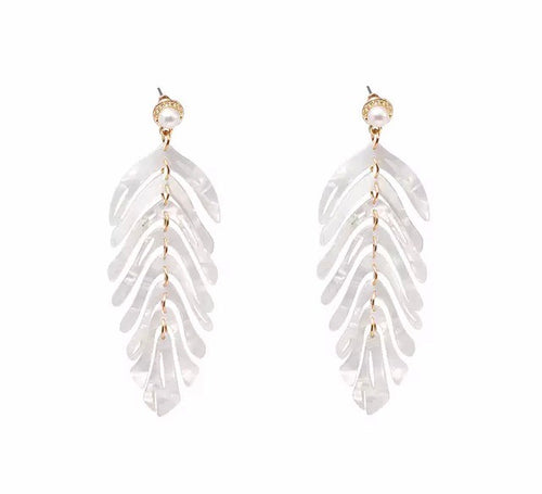 Feather Leaf White Earrings - Nicholls Jewellery
