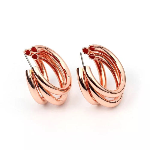 Triple Rose Hoop Earrings - Nicholls Jewellery