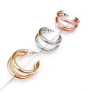 Triple Gold Hoop Earrings