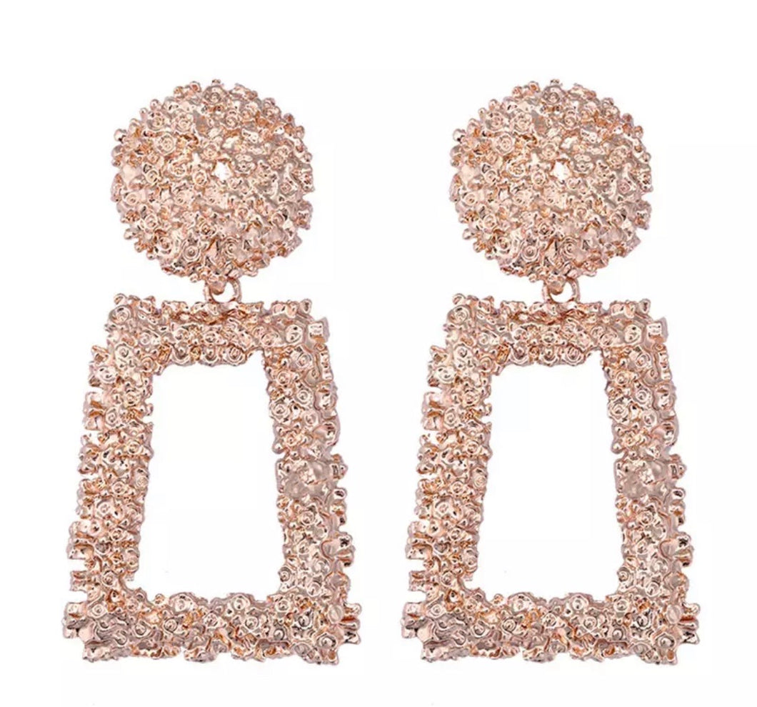 Luxe Rose Gold Aztec Earrings