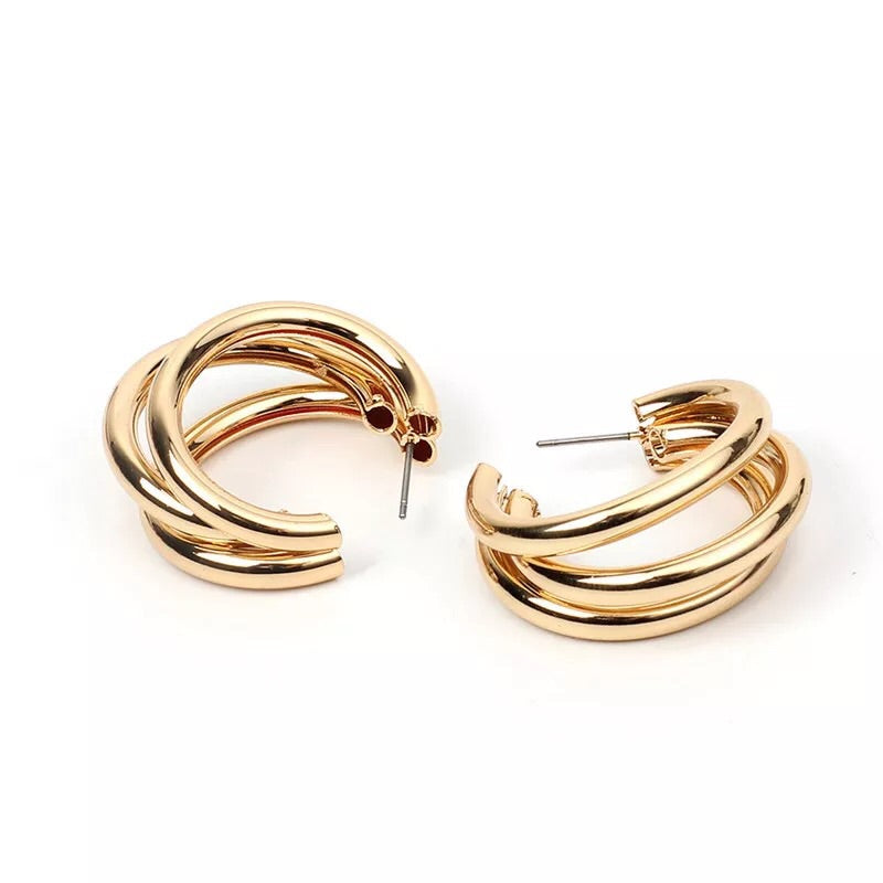 Triple Gold Hoop Earrings - Nicholls Jewellery