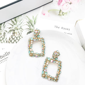 Venice Green Crystal Earrings - Nicholls Jewellery