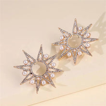 Load image into Gallery viewer, Sun Star Gold Earrings