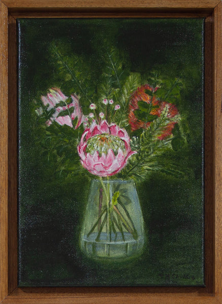 Australian flowers in a glass vase