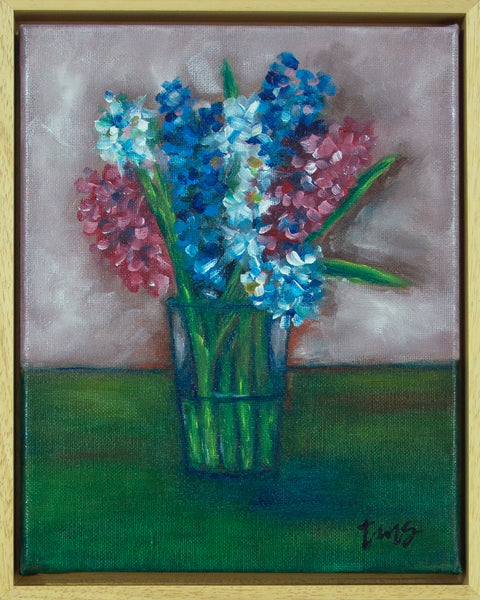 Hyacinths in a glass vase, after Margaret Olley