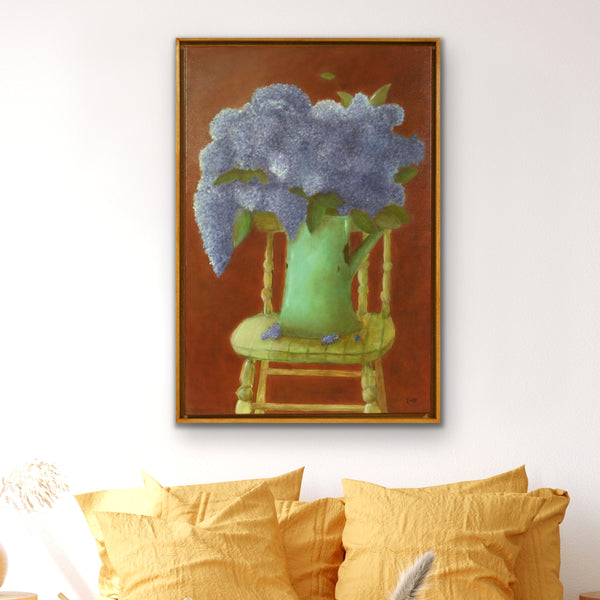 Hydrangeas and green chair by Toni-Maree Savage