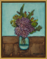 Purple myrtle in a glass vase by Toni-Maree Savage