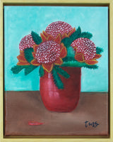 Waratahs in red vase by Toni-Maree Savage