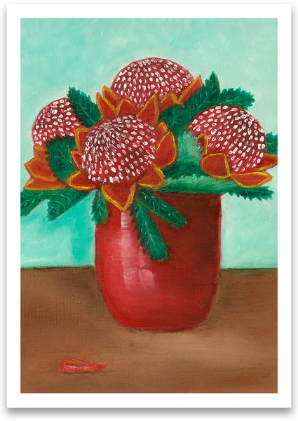 Waratahs in red vase