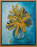 Wattle in a glass vase by Toni-Maree Savage