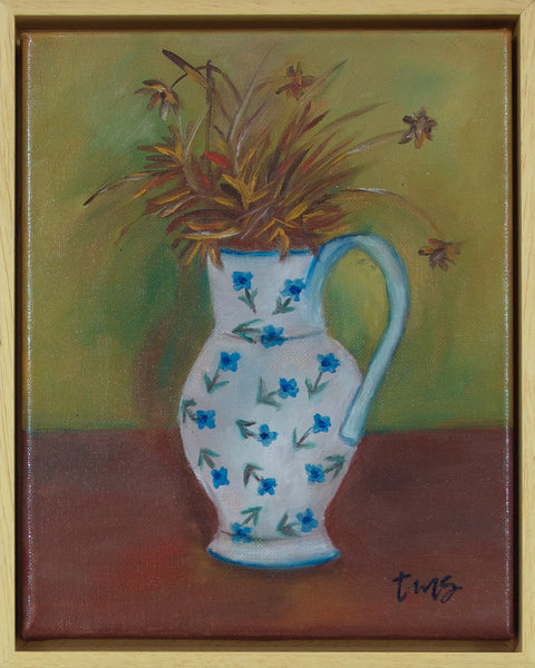 White vase with dried flowers, after Margaret Olley