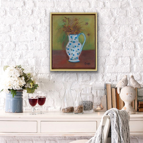 White vase with dried flowers, after Margaret Olley by Toni-Maree Savage