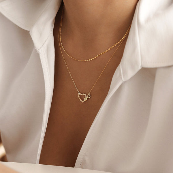Heart Infinity Necklace - Gelin Diamond