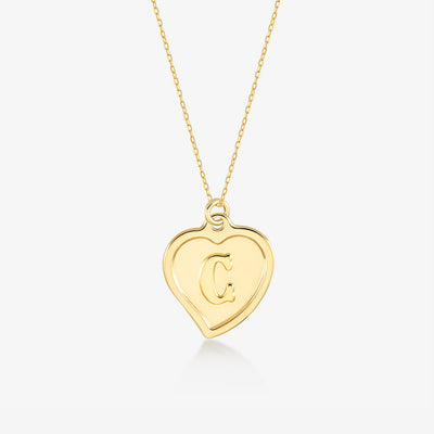 "Initial ""C"" Heart Necklace - Gelin Diamond"