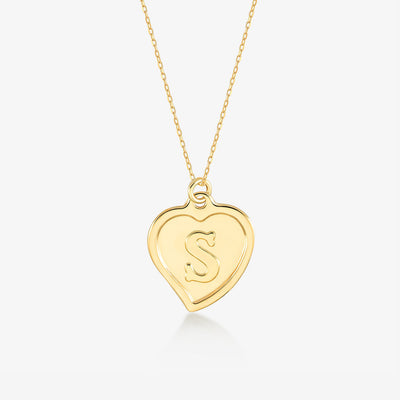 "Initial ""S"" Heart Necklace - Gelin Diamond"