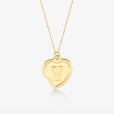 "Initial ""V"" Heart Necklace - Gelin Diamond"