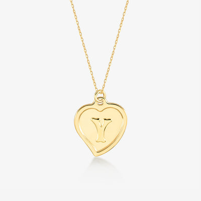 "Initial ""Y"" Heart Necklace - Gelin Diamond"