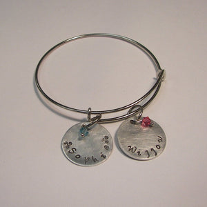 sterling silver adjustable bangle mommy charm bracelet with kids names, custom hand stamped personalized jewelry