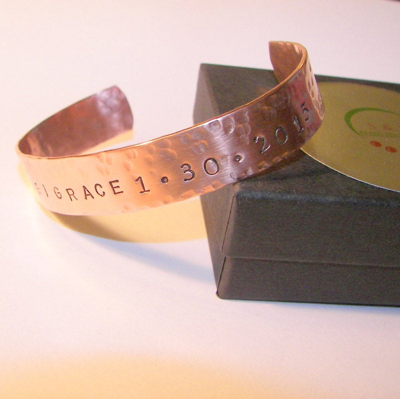 mens copper cuff bracelet, personalized gift for dad, custom hand stamped jewelry for him