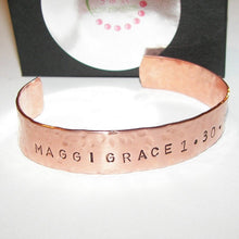 Load image into Gallery viewer, mens copper cuff bracelet, personalized gift for dad, custom hand stamped jewelry for him