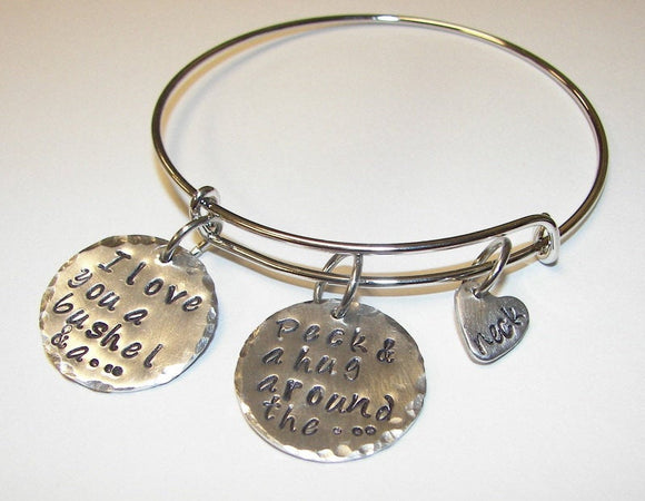 sterling silver, adjustable bangle, I love you a bushel and a peck and a hug around the neck , custom bangle bracelet, personalized jewelry