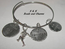 Load image into Gallery viewer, Football mom charm  bracelet, custom adjustable bangle, mommy bracelet, personalized jewelry, hand stamped jewelry