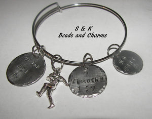 Football mom charm  bracelet, custom adjustable bangle, mommy bracelet, personalized jewelry, hand stamped jewelry