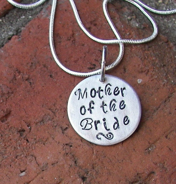 Sterling Mother of the bride or groom charm necklace, custom personalized  hand stamped jewelry,  wedding gift for moms