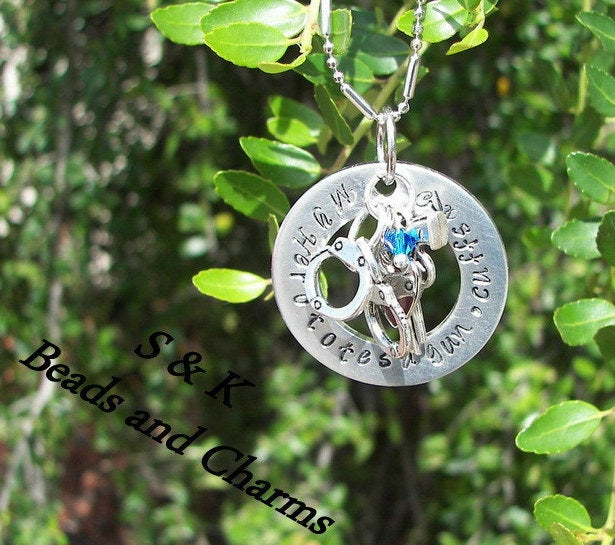 My hero totes a gun Law officer policeman wife necklace ,  blue lives matter gift, custom personalized hand stamped necklace