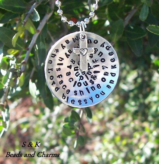 Numbers 6:24-26 May the Lord bless you and keep you, custom Hand stamped jewelry, personalized jewelry ,mothers necklace inspirational quote