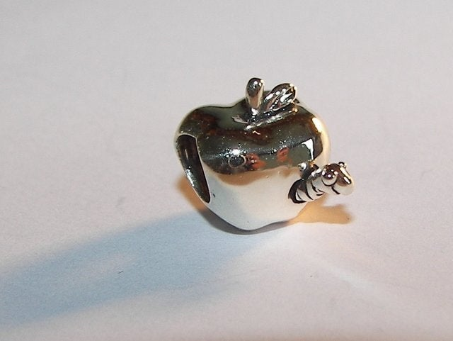 925 sterling silver apple charm with worm ,  European  charms , european charm, European bead, fits snake chain bracelet