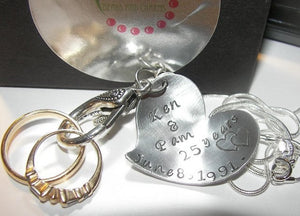 Ring holder anniversary gift,  hand stamped  personalized jewelry,  pregnancy ring holder custom charm handstamped jewelry