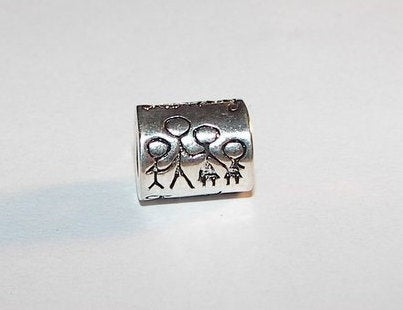 925 sterling silver family charm, large hole charm bead for snake chain bracelets, European charm bracelet charms