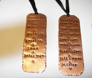 Custom hand stamp book mark,  personalized gift for book lover, copper metal stamped book mark handstamped jewelry