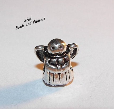 925 sterling silver angel charm, European large hole bead charm to  fit snake chain bracelet