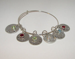 Mothers adjustable bangle charm bracelet with kids name & birthstones, personalized custom hand stamped jewelry