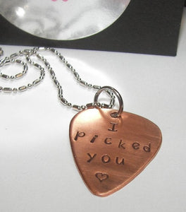I picked you copper pick necklace, Fathers day gift personalized gift for dad, custom stamped