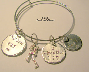 Football mom bracelet, sterling silver, adjustable bangle, hand stamped jewelry, personalized jewelry, hand stamped jewelry, handstamped