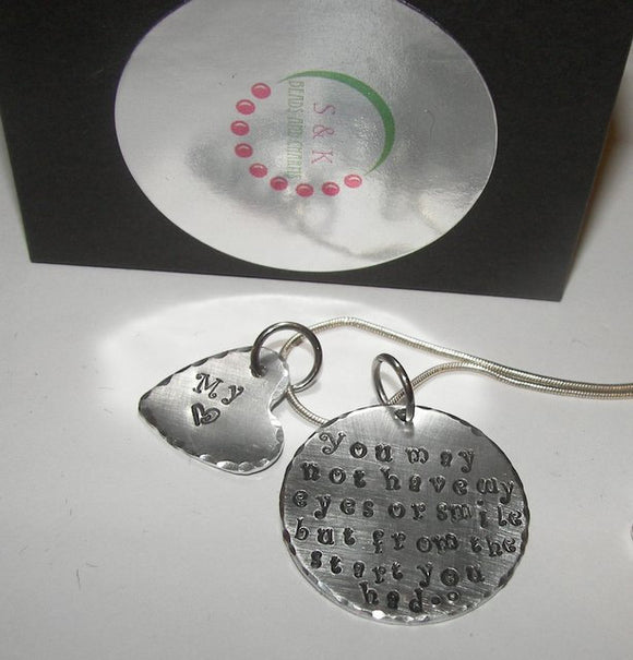 sterling You may not have my eyes, Hand stamped mommy jewelry, gift for adopted daughter, step daughter gift