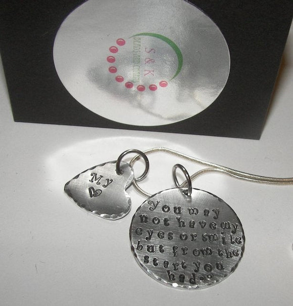 You may not have my eyes, Hand stamped jewelry, personalized jewelry, mommy jewelry, Mommy necklace, Adoption necklace, custom  jewelry