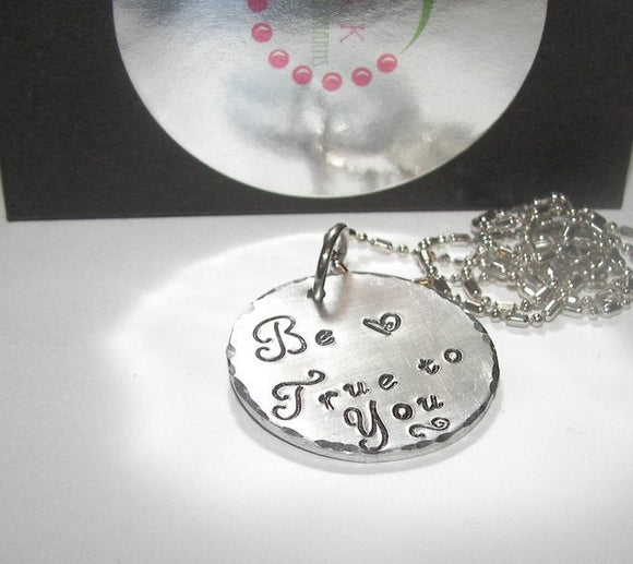 sterling silver Be true to you mommy necklace, personalized hand stamped jewelry , religious  quote necklace