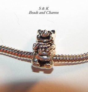925 sterling pooh charm, large hole charm bead for snake chain bracelets, European charm bracelet charms