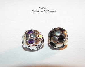 Socer ball European charm beads , large hole bead  fits snake chain bracelet, build your own bracelet charms